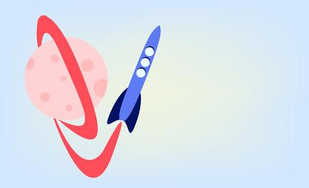 cartoon rocket in space Stock Vector - 8176431