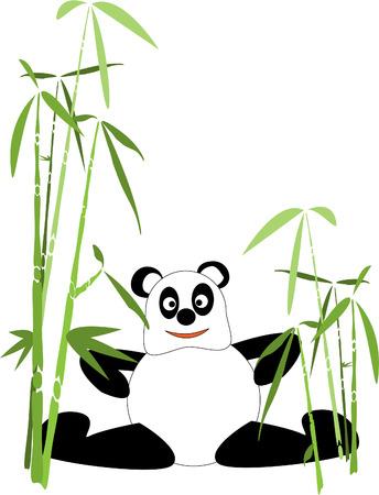 panda de dibujos animados en el bosque de bamb� Foto de archivo - 8253633