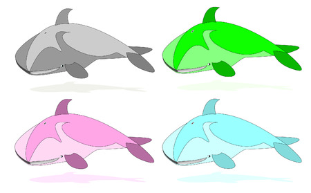 set of whales, different colors vector illustration Vector