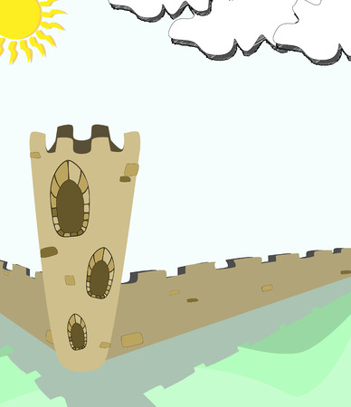 ancient tower and wall Vector