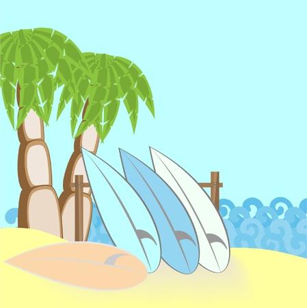 surfing boards on beach raster illustration Stock Illustration - 8892740