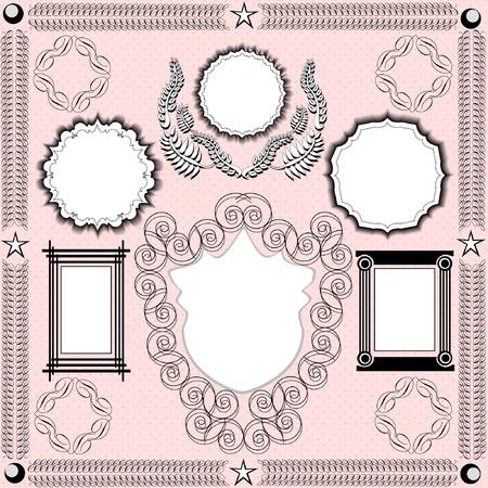 Vintage frames floral design elements Stock Vector - 8892766