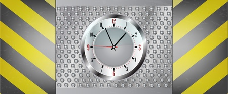 metal background with clock Vector