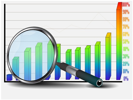 business chart and mignifying glass Vector