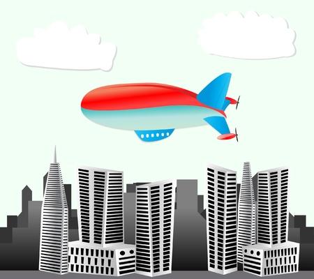 luftschiff: Luftschiff st�dtischen Hintergrund Illustration