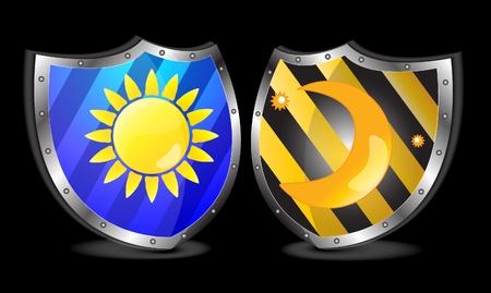 dia y noche: antiguos escudos vector ilustraci�n d�a noche