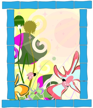 spring abstract cartoon nature background  Stock Vector - 9473448