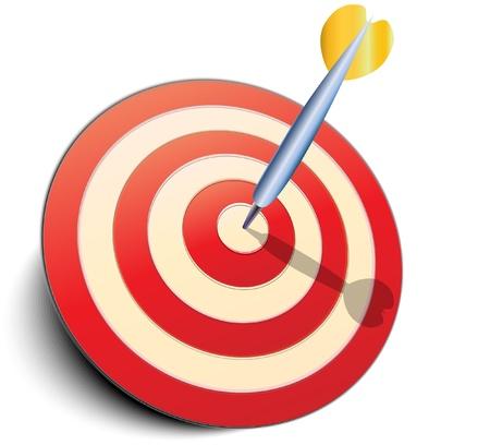 doelstelling: DART in doel. Vectorillustratie. Stock Illustratie