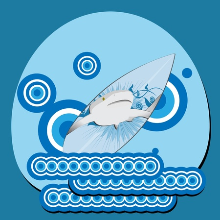 shark and surfboard  Vector
