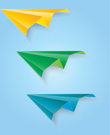 set of origami planes Stock Vector - 9716726