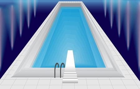Swimming pool at night Stock Illustratie