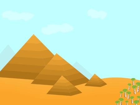 Egypt pyramids cartoon illustration  Stock Vector - 11003497