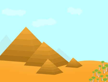 pyramid of the sun: Egypt pyramids cartoon illustration
