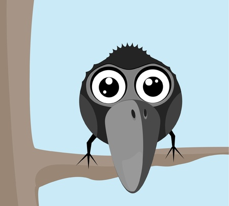 mall raven sitting on a branch  Vector