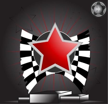 Victory Star on podium Vector