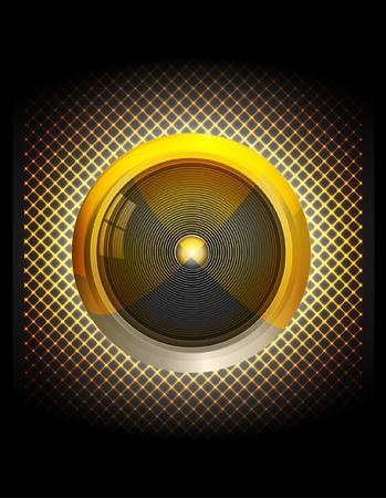 electronic elements: Oro altoparlante illustrazione astratta