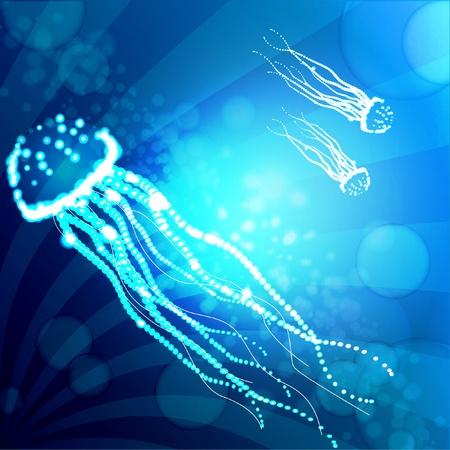 blue abstract jellyfish background vector illustration  Stock Illustratie