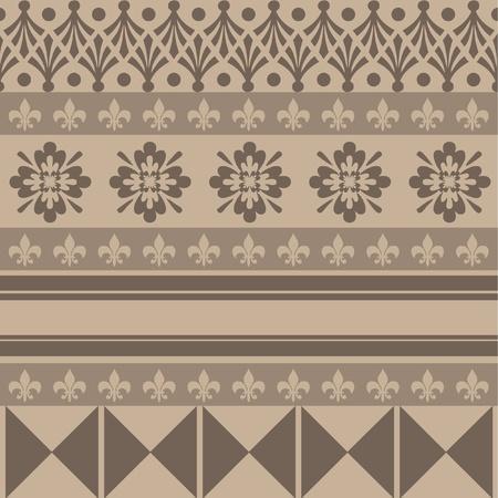 indien muster: braune Farbe Verzierungen im alten Stil Illustration
