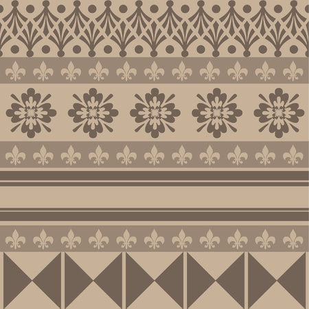 india pattern: brown color ornaments old style Illustration