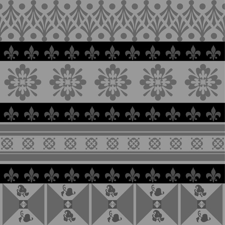 black and grey color ornaments old style Vector