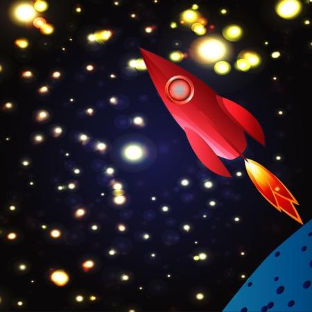 cosmos explore space rocket Stock Vector - 12497331