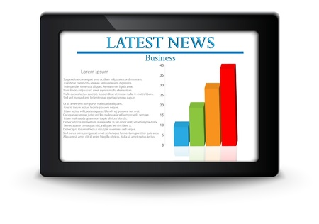 business news on tablet screen Vector