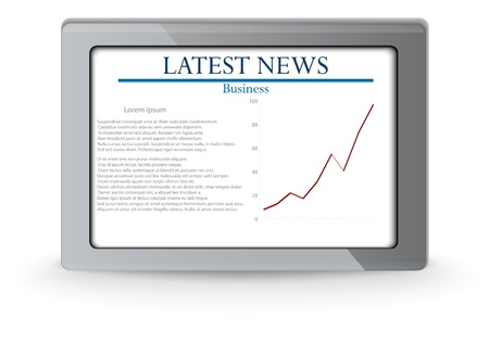business news: tablet with business news Illustration
