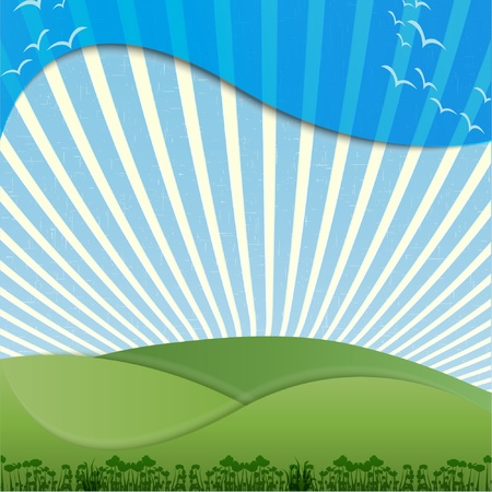 Abstract colorful background with green hills Vector