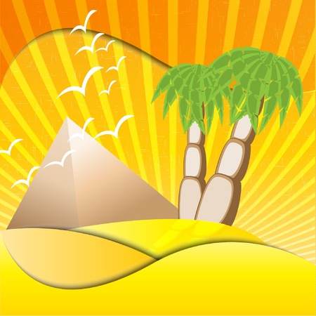 palms and pyramids Vector