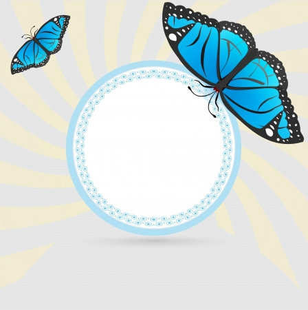 Vintage frame with blue butterflys  Stock Vector - 13970364