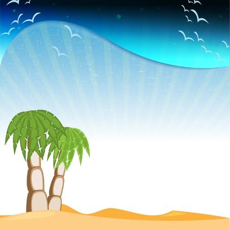 mirage: desert with palms Illustration