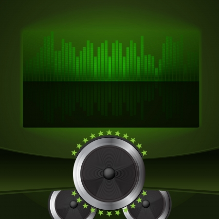 abstract green screen with speakers  Vector