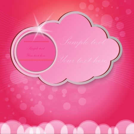 pink background with cloud for text Vector