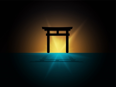 abstract Silhouette of japan gate on the water  Vector