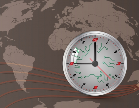 Wall clock and world map  Vector