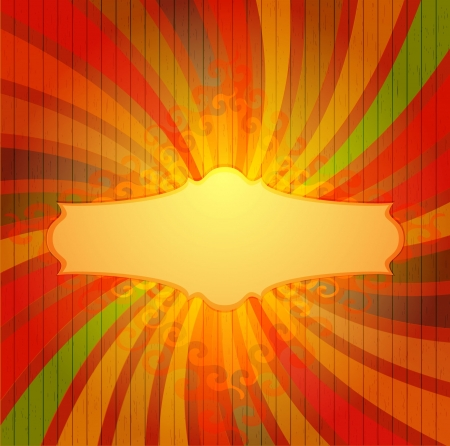 Vintage colorful template with sun burst  Stock Vector - 16907593