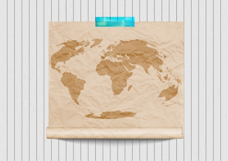 old world map on retro wooden wall  Vector