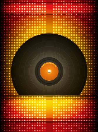 Vinyl record, colorful background illustration