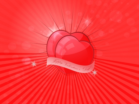Red Valentines hearts  Vector