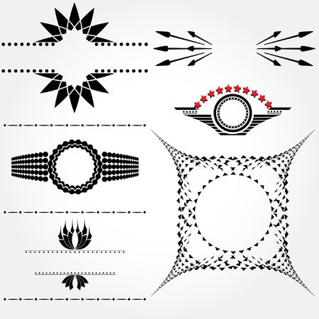 Banners,labels,wing s black and white   Vector