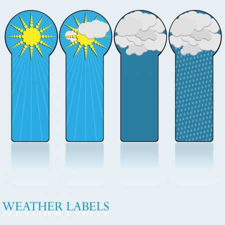 Label- Weather Icons sun,partly cloudy,clouds,rain Stock Vector - 18047739