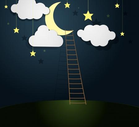 rope ladder: Moon Illustration with Ladder  Vector illustration