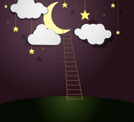 Moon Illustration with Ladder  Vector illustration  Stock Vector - 23205734