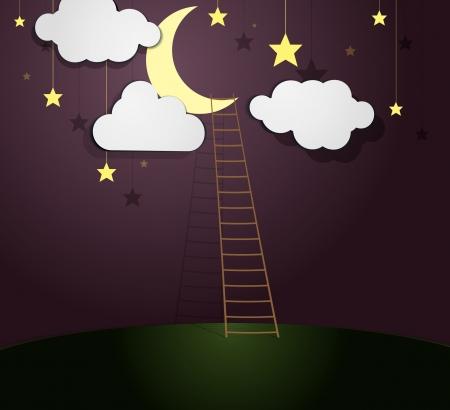 Moon Illustration with Ladder  Vector illustration Stock Vector - 23205734