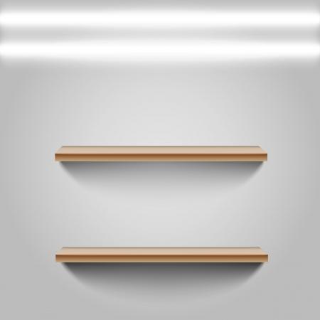 Two shelfs on white wall Stock Illustratie
