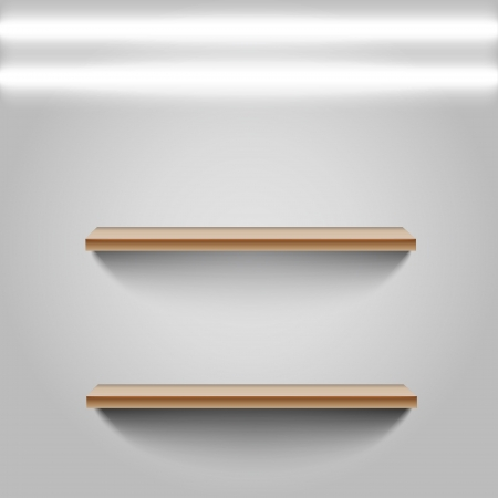 Two shelfs on white wall Vector