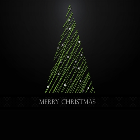 Abstract green christmas tree on Black background   Stock Illustratie