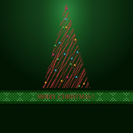 Red tree of christmas  Green background  Stock Illustratie
