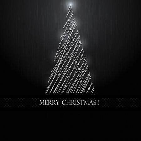 Silver Christmas tree on black background  Vector Stock Illustratie