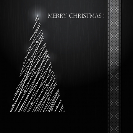Silver Christmas tree on black background  Vector Vector